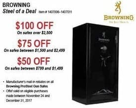 Sportsman's Warehouse Black Friday: Browning ProSteel Gun Safes - $50-$100 Off