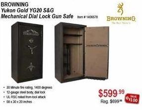 Sportsman's Warehouse Black Friday: Browning Yukon Gold YG20 S&G Mechanical Dial lock Gun Safe for $599.99