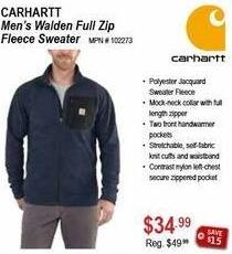 Sportsman's Warehouse Black Friday: Carhartt Men's Walden Full Zip Fleece Sweater for $34.99