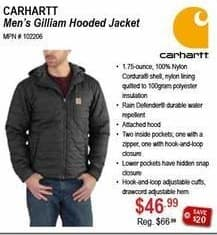 Sportsman's Warehouse Black Friday: Carhartt Men's Gilliam Hooded Jacket for $46.99