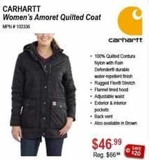Sportsman's Warehouse Black Friday: Carhartt Women's Amoret Quilted Coat for $46.99