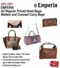 Sportsman's Warehouse Black Friday: Emperia Womens Handbags, Wallet or Conceal Carry Bags - 20% off