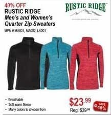 Sportsman's Warehouse Black Friday: Rustic Ridge Men's or Women's Quarter Zip Sweaters for $23.99