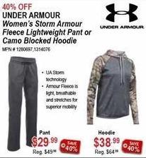 Sportsman's Warehouse Black Friday: Under Armour Women's Storm Armour Fleece Lightweight Pants for $29.99