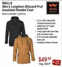 Sportsman's Warehouse Black Friday: Walls Men's Longhorn Blizzard-Pruf Insulated Hooded Coat for $49.99