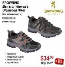 Sportsman's Warehouse Black Friday: Browning Men's or Women's Glenwood Hiker Shoes for $34.99