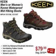 Sportsman's Warehouse Black Friday: Keen Men's or Women's Koven Waterproof Mid Hiking Boots for $79.99