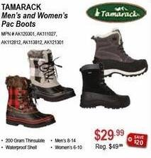 Sportsman's Warehouse Black Friday: Tamarack Men's or Women's Pac Boots for $29.99