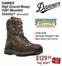 Sportsman's Warehouse Black Friday: Danner High Ground Men's Mossy Oak Mountain Country Boots for $129.99