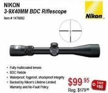 Sportsman's Warehouse Black Friday: Nikon 3-9X40MM BDC Riflescope for $99.95