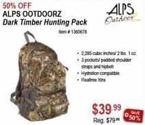 Sportsman's Warehouse Black Friday: Alps Ootdoorz Dark Timber Hunting Pack for $39.99