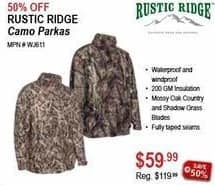 Sportsman's Warehouse Black Friday: Rustic Ridge Camo Parkas for $59.99