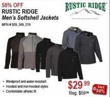 Sportsman's Warehouse Black Friday: Rustic Ridge Men's Softshell Jackets for $29.99