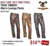 Sportsman's Warehouse Black Friday: True Timber Men's Lounge Pants - B1G1 Free