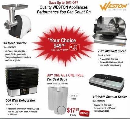 "Sportsman's Warehouse Black Friday: Weston #5 Meat Grinder, 500w Dehydrator, 7.5"" 200 Wall Slicer or 110w Vacuum Sealer for $49.99"