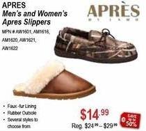 Sportsman's Warehouse Black Friday: Apres Men's or Women's Slippers for $14.99
