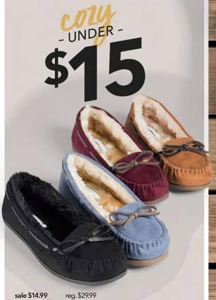 Payless ShoeSource Black Friday: Women's Cozy Slippers for $14.99