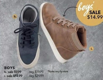 Payless ShoeSource Black Friday: Boys' Shoes, Assorted Styles for $9.99 - $14.99