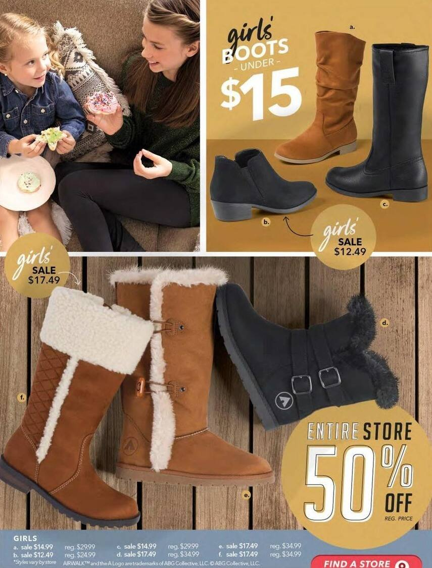 Payless ShoeSource Black Friday: Airwalk Girls' Boots, Assorted Styles for $12.49 - $17.49