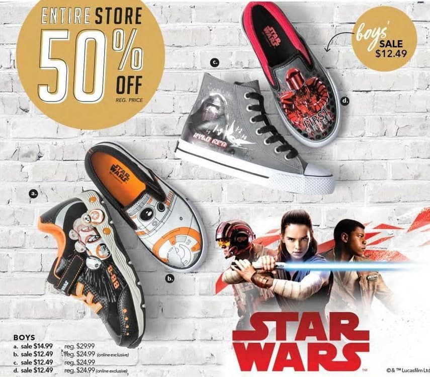 Payless ShoeSource Black Friday: Star Wars Boys' Shoes for $12.49