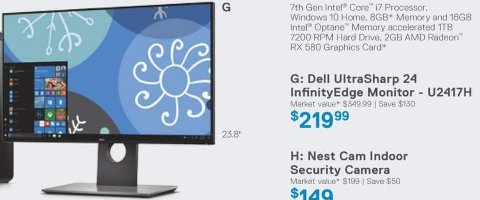 "Dell Home & Office Cyber Monday: 24"" Dell UltraSharp U2417H InfinityEdge Monitor for $219.99"
