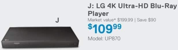 Dell Home & Office Cyber Monday: LG UP870 4K Ultra-HD Blu-Ray Player for $109.99