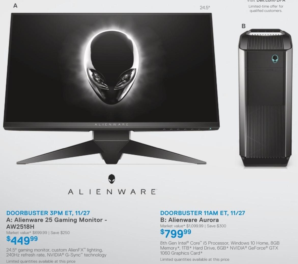 "Dell Home & Office Cyber Monday: 25"" Alienware Aurora 8th Gen w/ Intel Core i5, WIN 10, 8GB RAM, 1TB HD, 6GB NVIDIA GEFORCE GTX 1060 Desktop for $799.99"