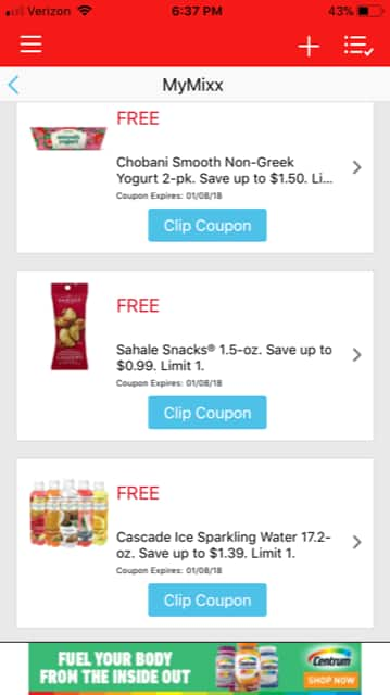 Jewel Osco MyMixx - Free Chobani Smooth Non-Greek Yogurt, Sahale Snacks, and Cascade Ice Sparkling Water *Clip Coupons Ex. 1/8 *B&M