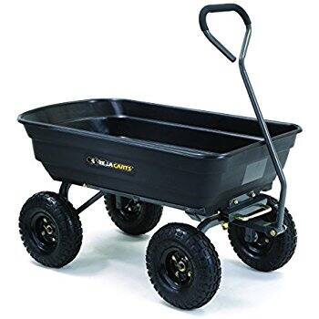 Gorilla Carts GOR4PS Poly Garden Dump Cart w/Steel Frame, 600-Pound Capacity, Black $69.98 FS @Amazon