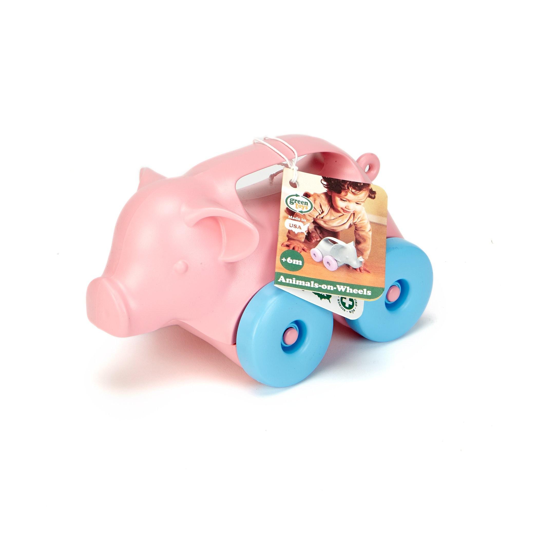 Green Toys: Pig-on-Wheels $5.39, Airplane $7.07, Salad Set $7.42 @Amazon