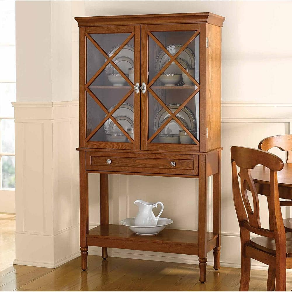 Country Living Light Mahogany Wood China Cabinet 25 00 Was