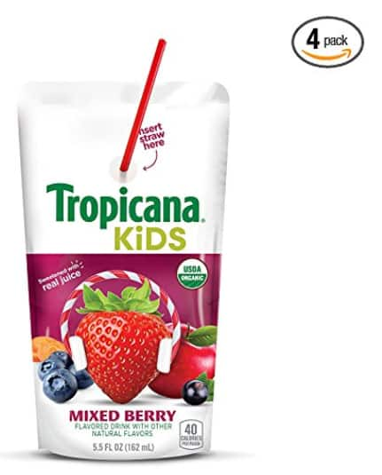 32-Count Tropicana Kids Organic Juice Drink 5.5oz Pouch, Mixed Berry $11.43 AC & 5%SS