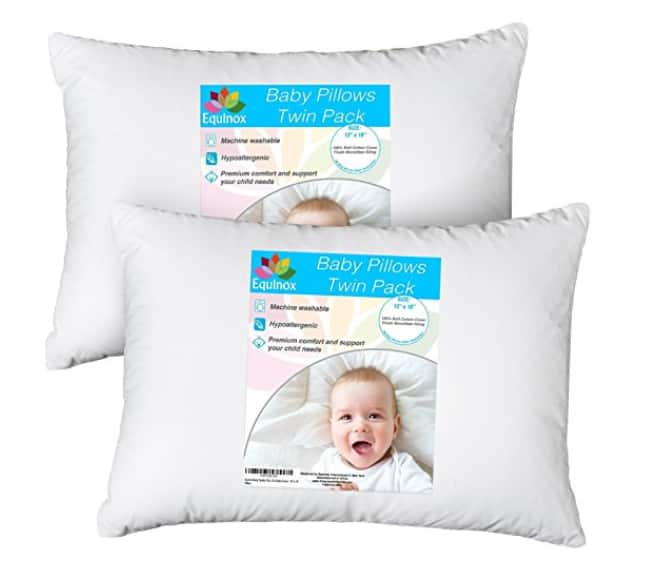 """2-Pack Baby 100% Hypoallergenic Toddler Pillow Set - 13"""" x 18"""" with 100% Cotton Cover $13.99"""