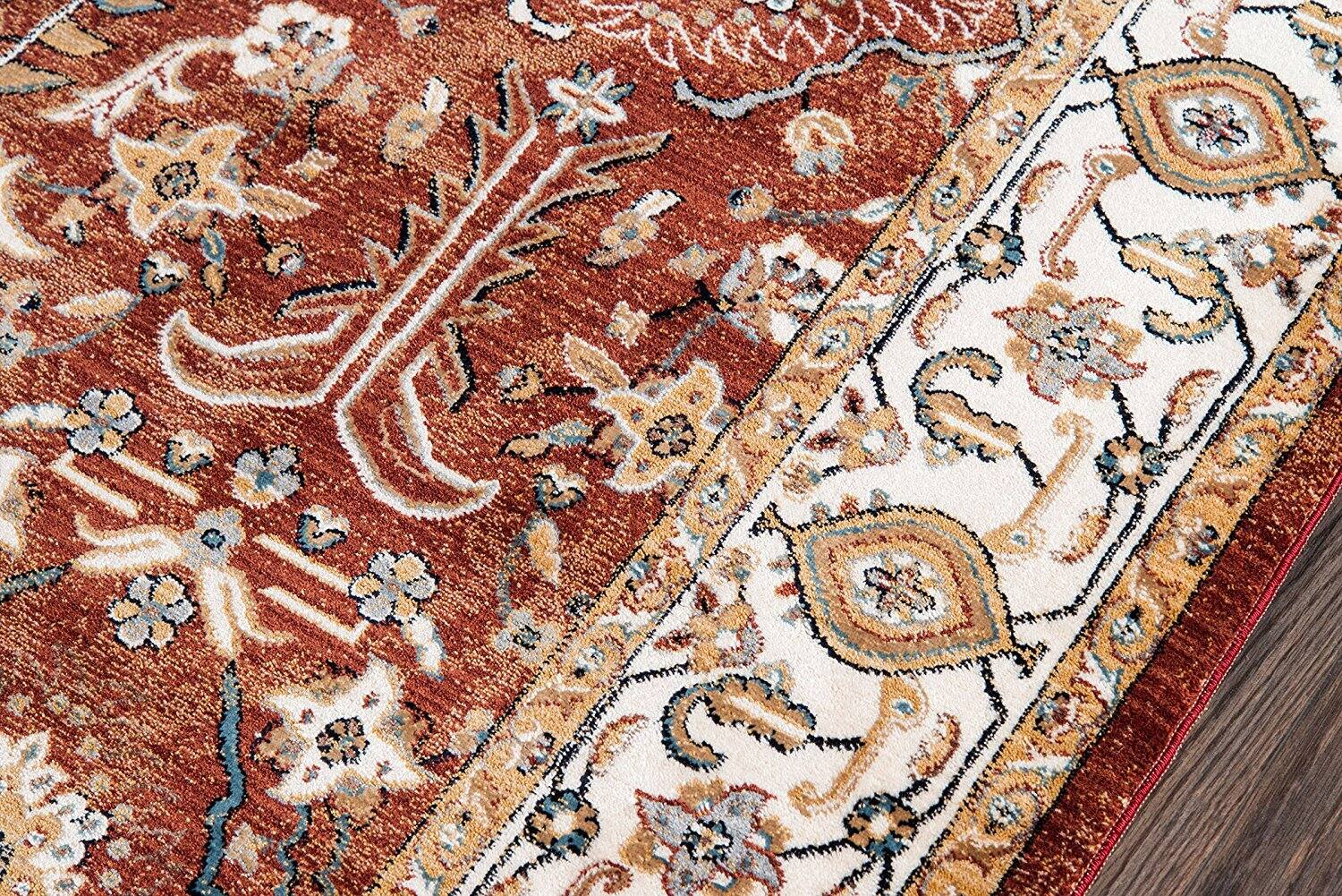 """BRIGHBR-02RST5080 Brighton Collection Traditional Persian Design Area Rug, 5'0"""" x 8'0"""", Rust $35.72 (was $153) @Amazon +Free Shipping"""
