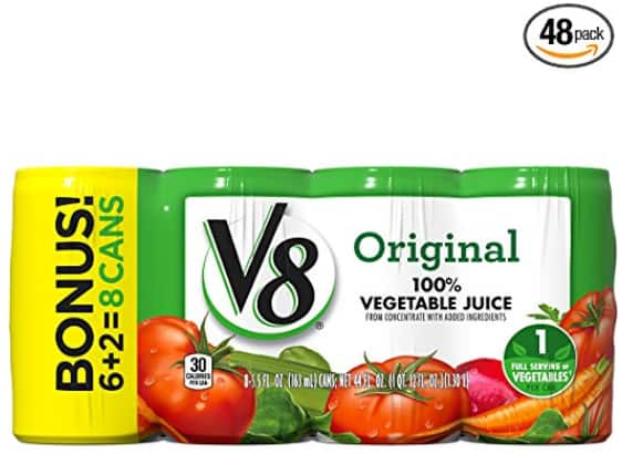 48-Pack of 5.5oz V8 Original 100% Vegetable Juice $15.50 w/ S&S + Free S&H