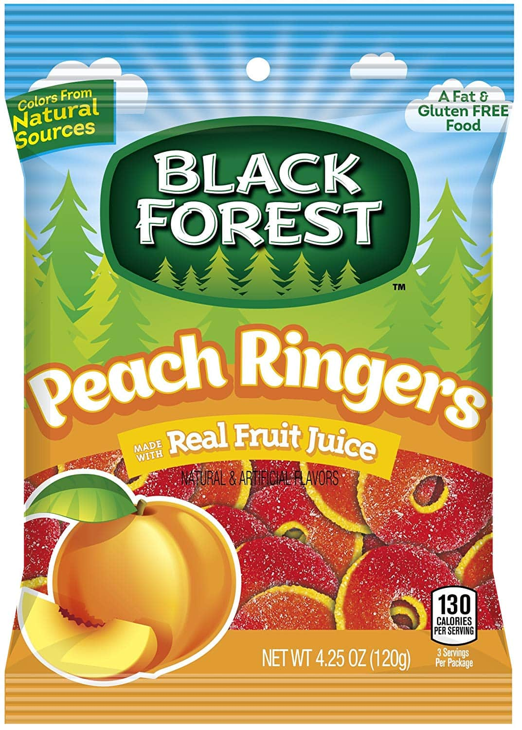 12-Count Black Forest Peach Ringers Gummy Candy (4.25 Ounce Bag) $11.20 AC w/s&s FS (93¢ Bag)