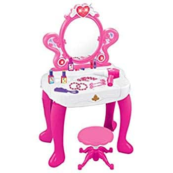 Prime Members: 2-in-1 Vanity Set Girls Toy Makeup Accessories with Working Piano, Flashing Lights, Working Hair Dryer $38.35