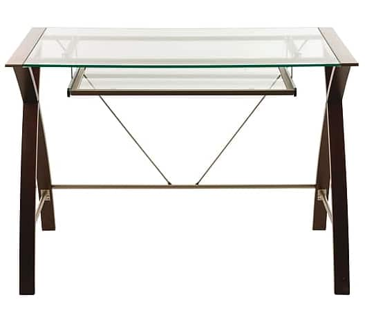 Lynx Tempered Glass Top Computer Desk (Espresso) $59.99 ~ Staples w/Free Shipping
