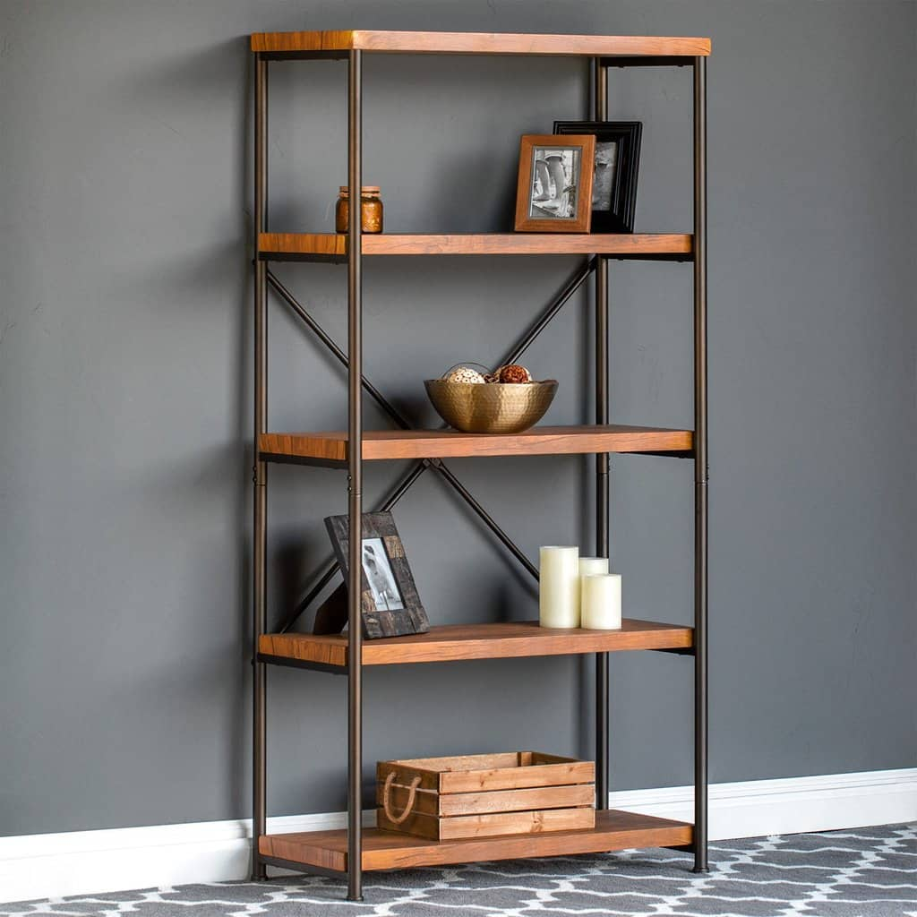 4 Tier Industrial Bookshelf W Metal Frame 315 X 14 6275
