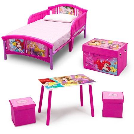Disney 4-Piece Toddler Bed Bedroom Set with BONUS Fabric Toy Box ...