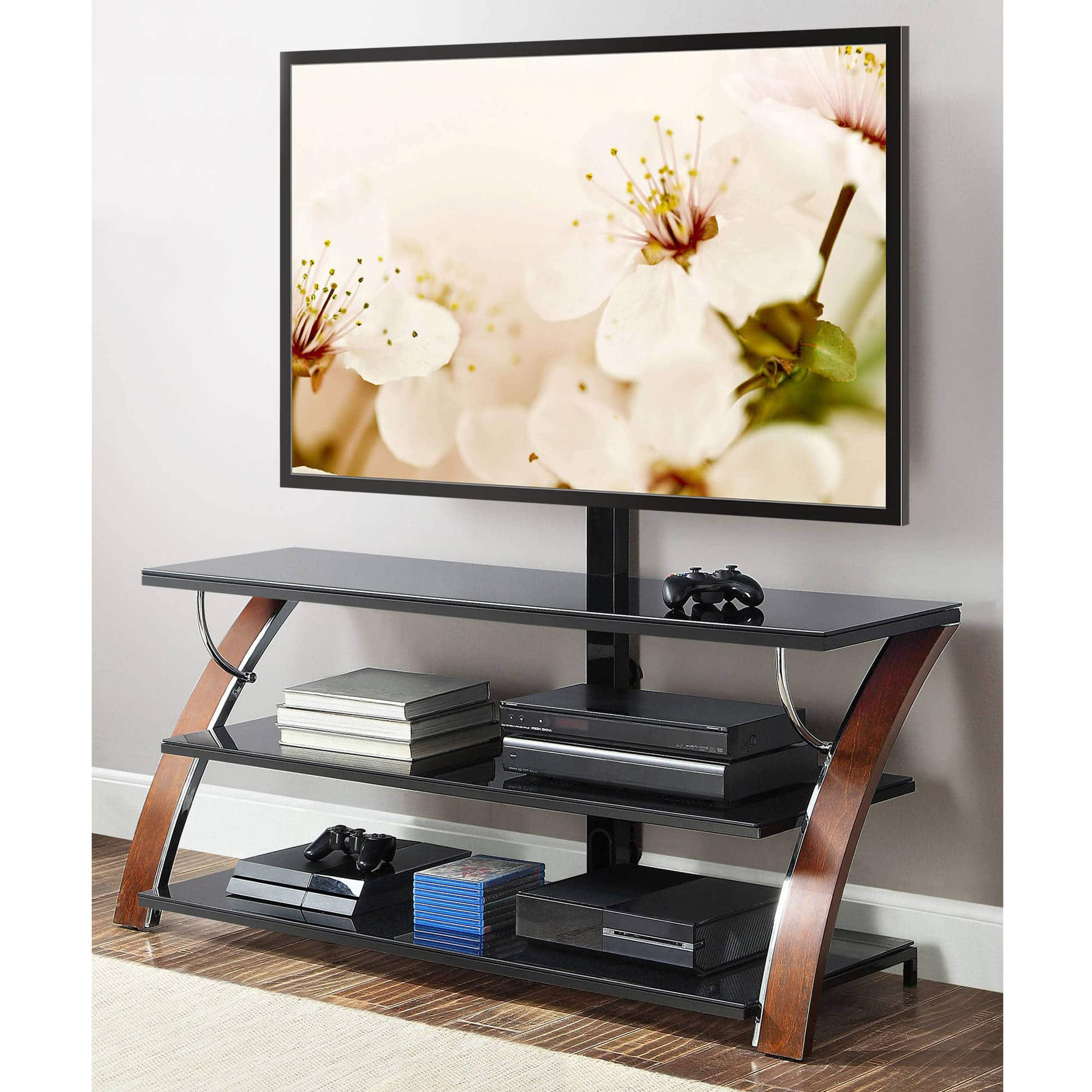 Whalen Tv Stands Payton Brown Cherry 3 In 1 Flat Panel 129 00
