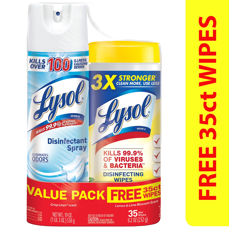 Lysol Disinfectant Spray (Crisp Linen) + Free Disinfecting Wipes, (Lemon) 35ct Bundle $5.27 - Walmart