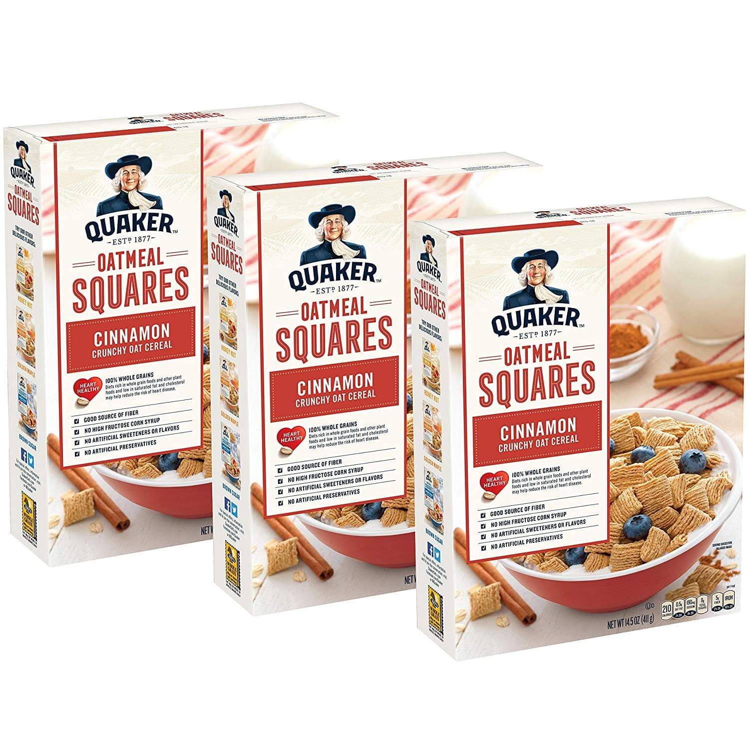 3-Count of 14.5oz Quaker Oatmeal Squares Breakfast Cereal (Cinnamon) $5.24 or less w/ S&S + Free S/H