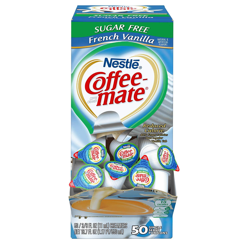 100-Count (2-Boxes) NESTLE COFFEE-MATE Coffee Creamer, Sugar Free French Vanilla $9.48 5% or $8.36 15% AC w/s&s (Min. Qty. 2) Amazon