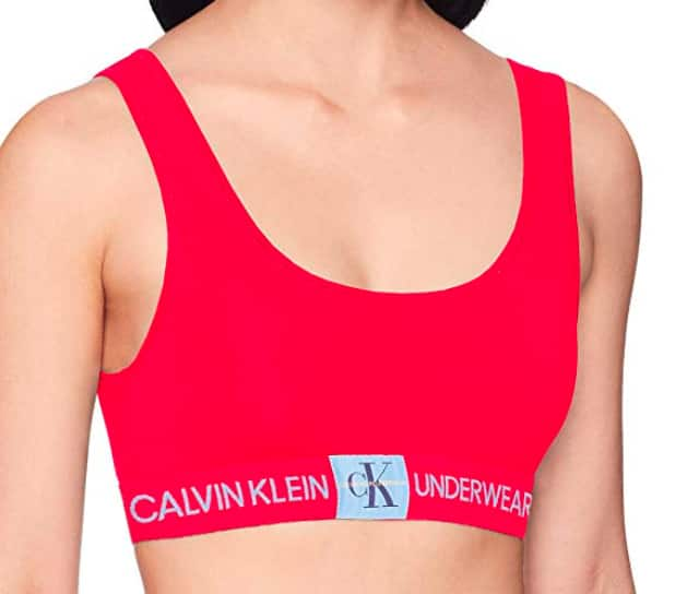 2a719ac4f3 Calvin Klein Women s Monogram Unlined Bralette (Manic Red)  5.55 AC - Amazon