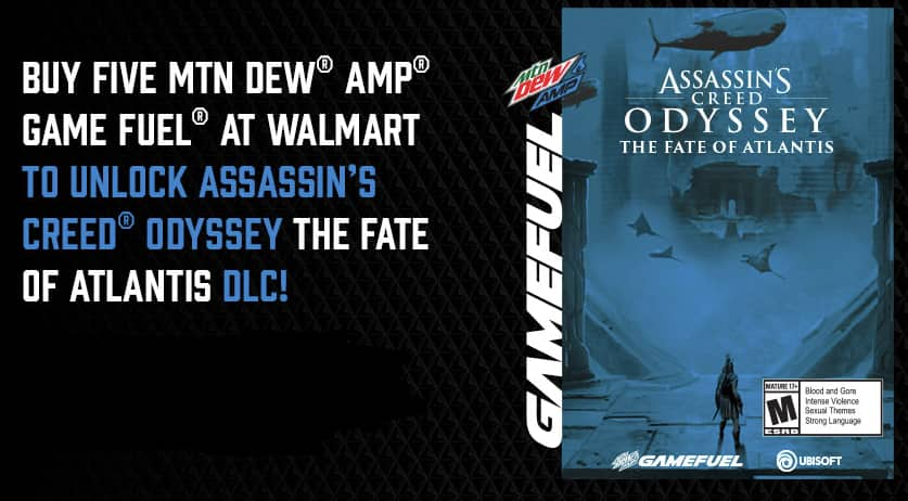 Buy any one MTN DEW AMP GAME FUEL 12-PACK to Unlock an in-game XP