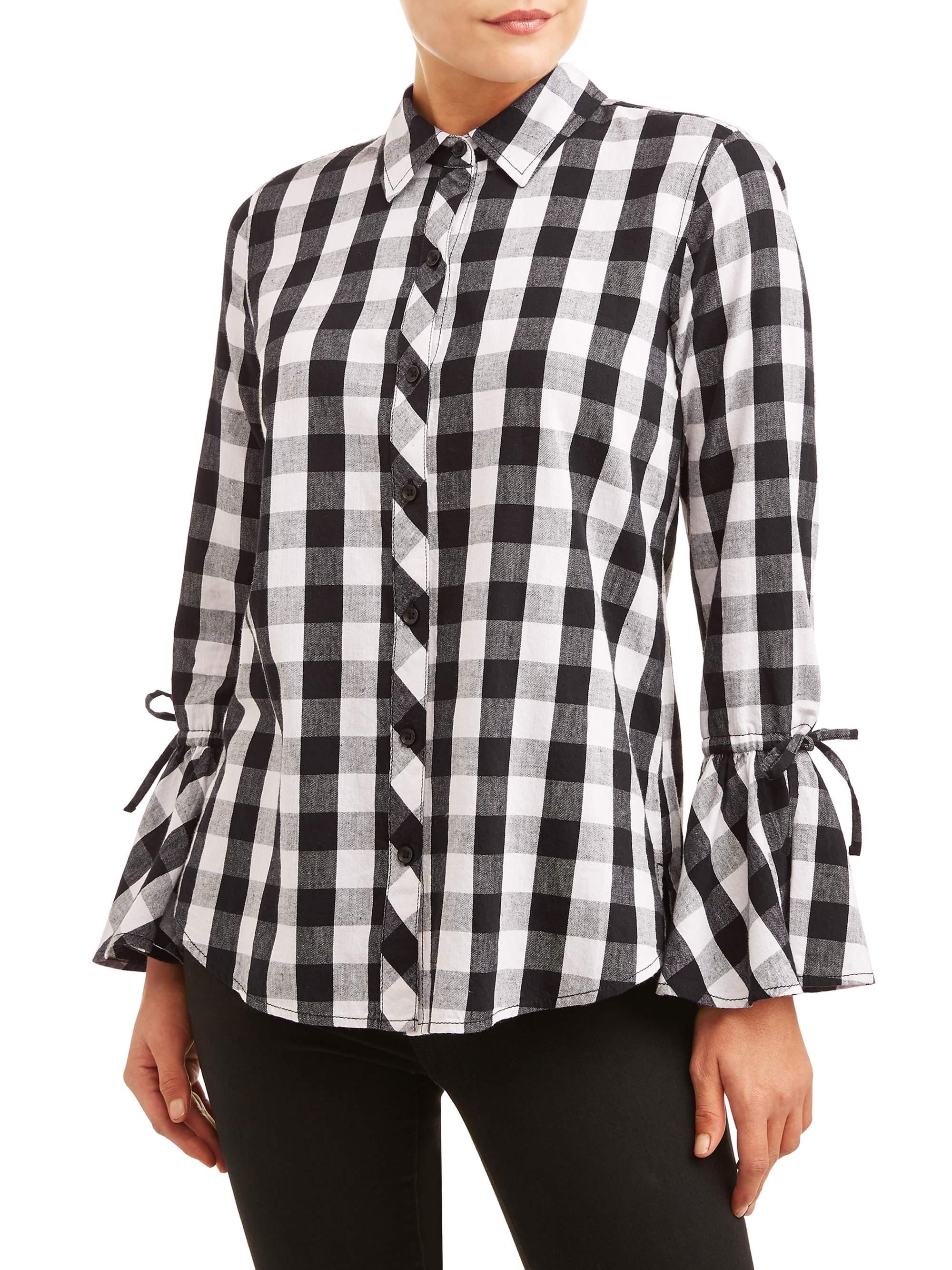 Time and Tru: Women's Woven Ruffle Sleeve Shirt $5.00 - Walmart