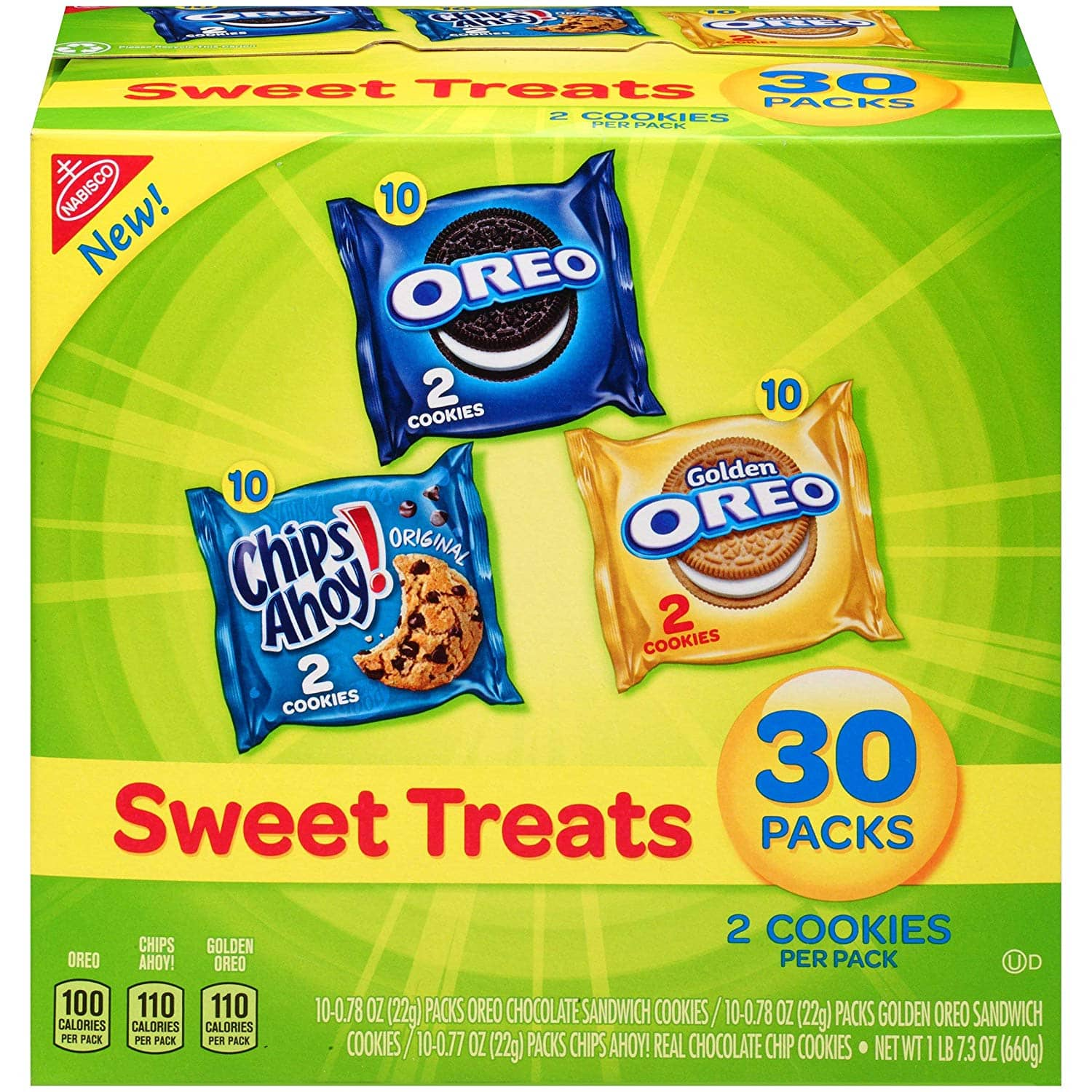 30-ct. Nabisco Cookies Sweet Treats Variety Pack Cookies - Oreo, Chips Ahoy, Golden Oreo $6.63 5% or $5.93 15%  & MORE w/s&s