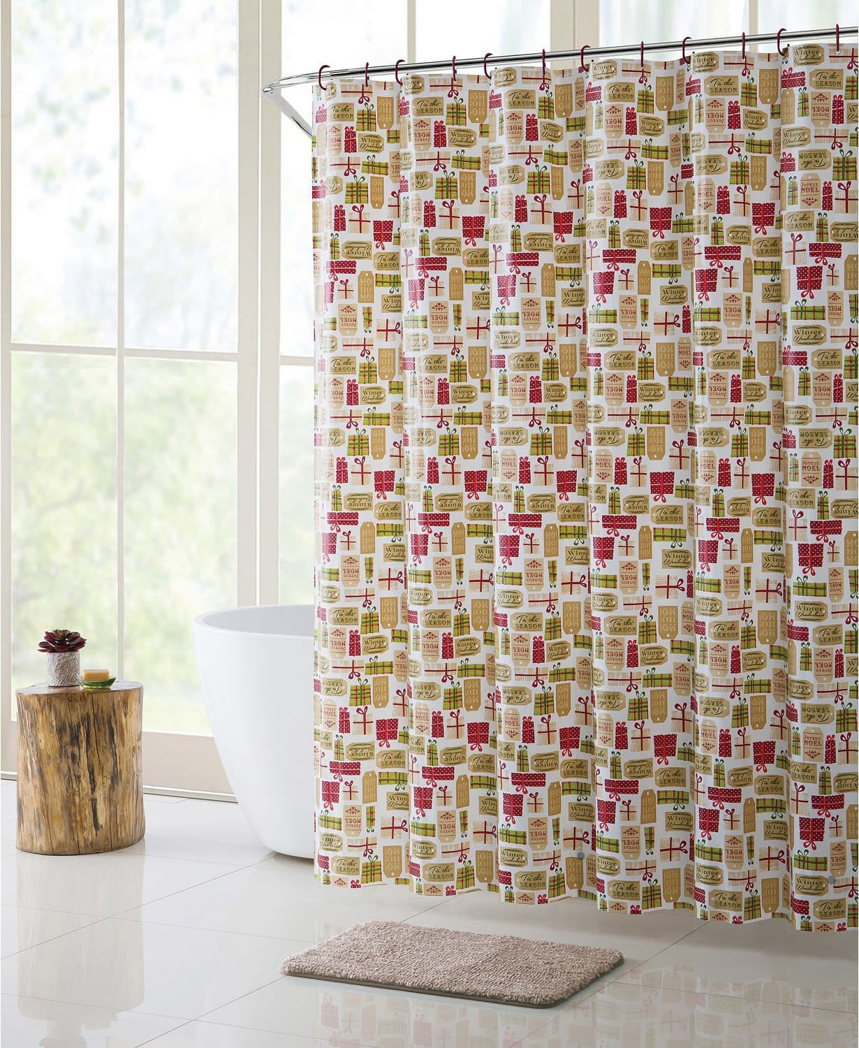 Bath Set Merry Gifts (Shower Curtain, Hooks, Rug) $13.99 & More - Macy's - Free Shipping