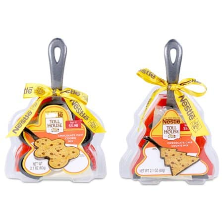 2 Ct Nestle Toll House Holiday Cookie Shaped Iron Skillets W Mix